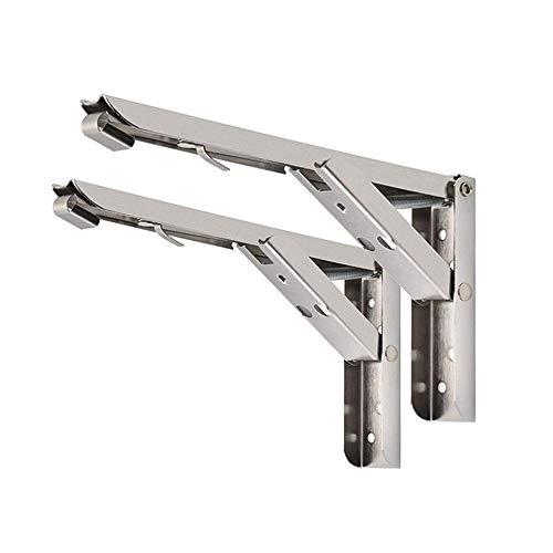 ONEVER 1 par de soportes de estante plegables Soporte de estante plegable de acero inoxidable de alto rendimiento para el soporte de bricolaje de escritorio