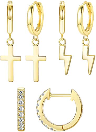 Adramata 14K Gold Plated Small Dangle Hoop Earrings for Women Dainty Minimalist Lightning Tiny Cross CZ Huggie Hoop Earrings Set Cute Earrings Jewelry