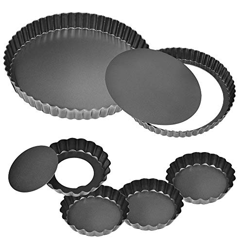 11Inch, 9 Inch and 4 Inch Tart Pan with Removable Bottom, 2 Pcs Large...