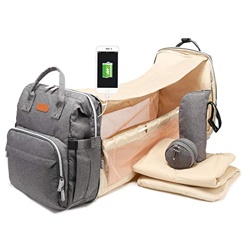 Diaper Bag Backpack - 2020 Newest Backpack Diaper Bag with Changing Pad - Large Multifunction Travel Backpack for Women & Men - Stylish Diaper Bag Backpack for Mom - Diapers Backpack for Boys (Gray)