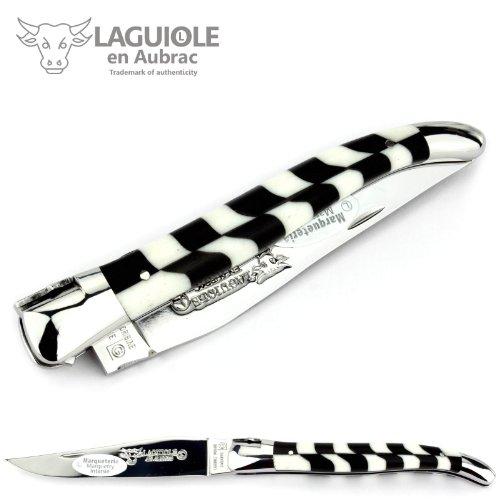 LAGUIOLE en Aubrac 12 cm Taschenmesser Modell Freimaurer L0212A7ID Griff Intarsie Ebenholz/Knochen, Klinge und Backen glänzend