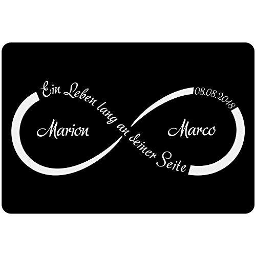 Geschenke 24 Fußmatte - Unendlichkeit mit Personalisierung in Weiß - persönlicher Vorleger als Hochzeitsgeschenk für Brautpaar – personalisiert mit Namen und Datum zum Hochzeitstag l Jahrestag