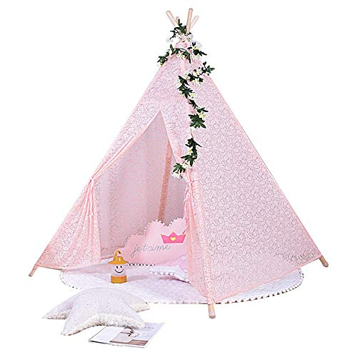 YBWEN Play Tents Tepee Tents Indoor/Outdoor Indian Teepee For Girls Kids Play Tent Play (Color : PINK, Size : ONE SIZE)