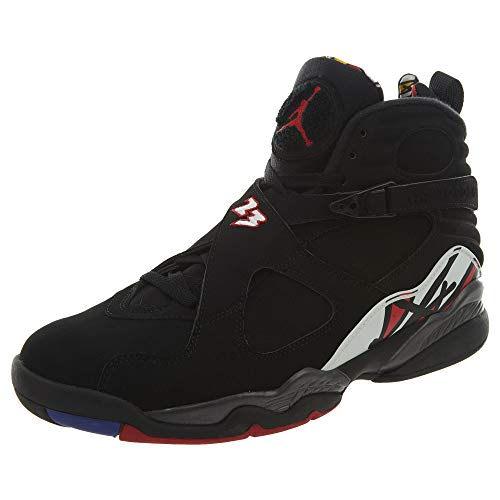 Nike Mens Air Jordan 8 Retro Playoff Black/Varsity Red Leather Basketball Shoes Size 12