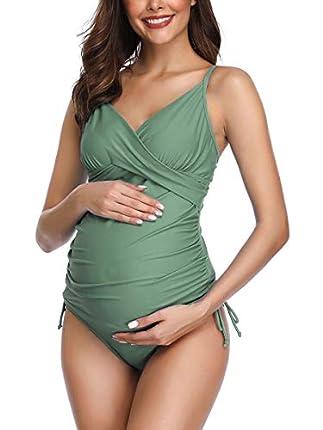 Traje de baño Mujer Maternidad Premamá Deportes Tankini de Dos Piezas Verde S