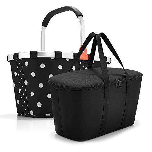 reisenthel, Set aus carrybag BK + coolerbag UH, BKUH, Einkaufskorb mit passender Kühltasche, Mixed dots + Black