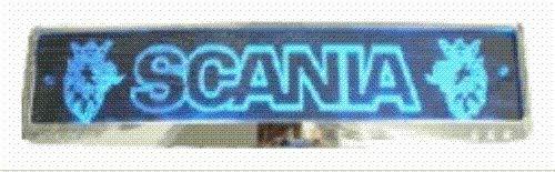 LED-Leuchtschild mit Scania-Logo, 52x11,5cm ✓ Ideale Geschenkidee ✓ 18 LEDs ✓ Lasergraviert | Edles Neonschild als Truck-Accessoire | Beleuchtetes LED-Schild für den 12/24Volt-Anschluss | Ideales LKW-Zubehör für Trucker in verschiedenen Farben
