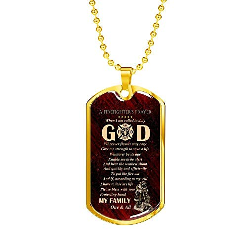 Firefighter's Prayer Dog Tag Pendant Necklace – Fire Rescue Fireman Necklace; Gift for Birthday,Christmas,Valentine's Day,Mother's day,Father's Day,Thanksgiving