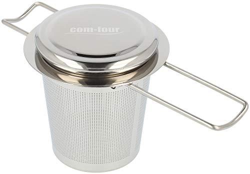 COM-FOUR® theezeef van roestvrij staal met deksel - theefilter met lekbak - fijnmazige theezeef voor losse thee en kruiden (01 stuks - met deksel V2)