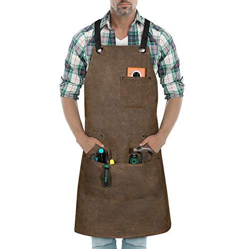 BAIGIO Werkzeugschürze Schwere Arbeitsschürze Unisex mit 3 Taschen für Ingenieure Schreiner Maler Zimmermann Garten (Khaki)