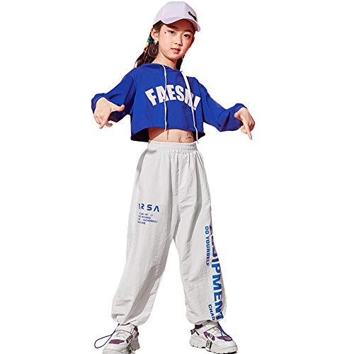LOLANTA Kids Hip Hop Kostuum Straat Dans Outfit Blauw Hoodie&Jogger Broek Tracksuit Set