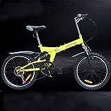 OVINEE Bicicleta Profesional de montaña Plegable Individual de 20 Pulgadas con Sistema de frenado de Doble Freno en V para Adultos y Teen Unisex,Mountain Bike,Soporte Bicicletas(HITO) (Amarillo)
