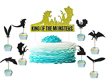 Godzilla Cake Topper Cupcake Toppers Party Supplies -1 Cake Topper and 24 Cupcake Toppers Set - Godzilla Birthday Cake Decorations for Kids Boys Girls Party.