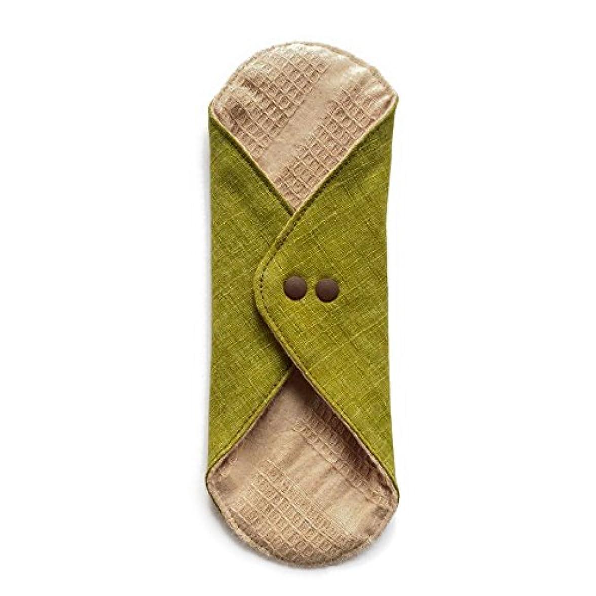 ミリメートル胴体番号華布のオーガニックコットンのあたため布 Lサイズ (約18×約20.5×約0.5cm) 彩り(抹茶)