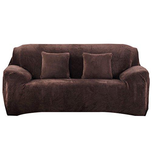 WINOMO Sofahusse 4 Sitzer Stretch Sofabezug Hohe Elastizität Couchhusse anti rutsch für Sofa Schutz (Kaffee)