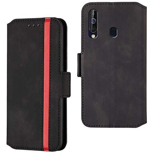 HHUIWIND Hülle für Samsung Galaxy A20s Leder + Panzerglas,Handyhülle Samsung Galaxy A20s,Schutzhülle Handytasche Klapphülle Streifen Hülle mit Kartenfächer für Samsung Galaxy A20s-Schwarz01