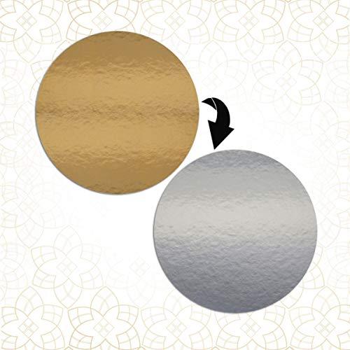 5 x tårtunderlägg på båda sidor – guldsilverspegel – rund – 26 cm Ø tårtskivor