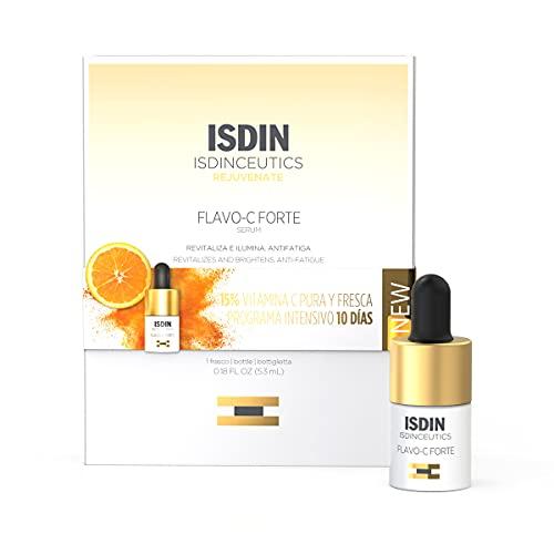 ISDIN Isdinceutics Flavo-C Forte, Sérum Facial Antioxidante con un 15% de Vitamina C Pura y Fresca, Vitamina E y Ácido Hialurónico, 1 Unidad