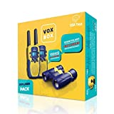 USA Toyz Vox Box Walkie Talkies for Kids with Toy Binoculars Set - Explorer Kit with 2 Voice Activated 2+ Mile Long Range Walkie Talkies for Boys and Girls (Blue and Yellow)