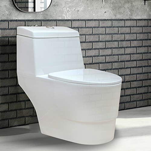 Fine Fixtures Modern Dual Flush Elongated One-Piece Toilet, Seat Included