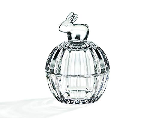 STUDIO SILVERSMITHS Clear Glass Jar with Bunny Top Handle Storage Jar, Candy Dish Box