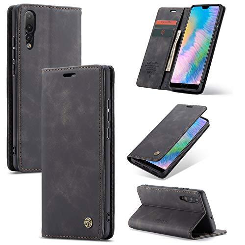 Para Huawei P20 Pro Caja de teléfono móvil magnética, funda de tapete de cuero de PU, caja de teléfono móvil ultra delgada [[soporte] ranura para tarjeta, [carga inalámbrica] Compatible con Huawei P20