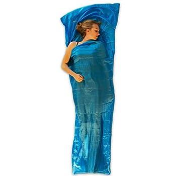 LOWLAND OUTDOOR Sac de Couchage en Soie, Bleu, 220 x 80 x 70 cm