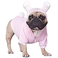 Easter Outfits For Dogs - French Bulldog wearing a Pink Bunny Hoodie costume.