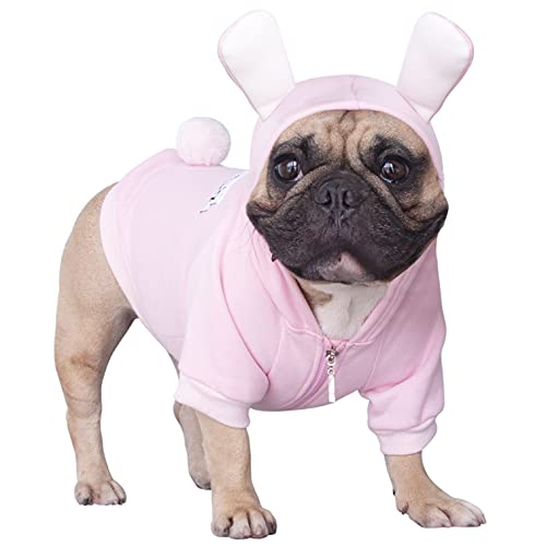iChoue Bunny Dog Halloween Easter Costumes Small Medium Clothes Boy Girl Shirt Sweater Cute Funny for French Bulldog Cold Weather Winter Coats Hoodies Frenchie English Pug Pitbull Corgi Puppy - M