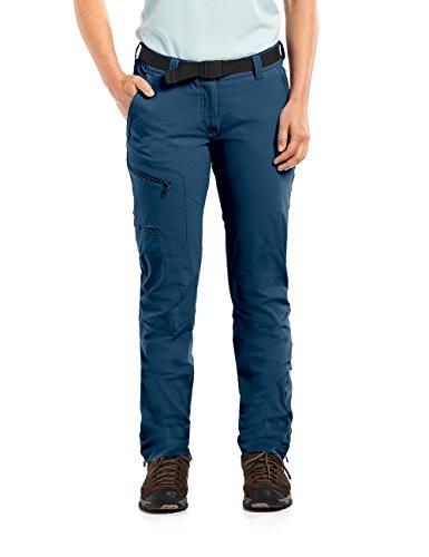 MAIER SPORTS Funktionshose Inara Slim für Damen aus 90% PA 10% EL in 23 Größen, Outdoorhose/ Wanderhose/ Slimfit Hose inkl. Gürtel, bi-elastisch, schnelltrocknend und wasserabweisend,blau,38
