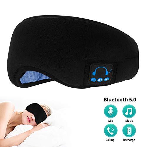 Bluetooth Schlafmaske,schlafkopfhörer Bluetooth Musik Augenmaske, kabellos Bluetooth-Kopfhörer Travel Sleeping Headset,Eingebauter Lautsprecher,für iPhone, Android, iPad,für Reisen mit Dem Flugzeug