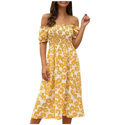 Longra Strandjurk voor dames, halflang, sexy, schoudervrij, bloemenjurk, bohemium-stijl, slanke jurk, hoge taille, casual zomerjurk, middellang