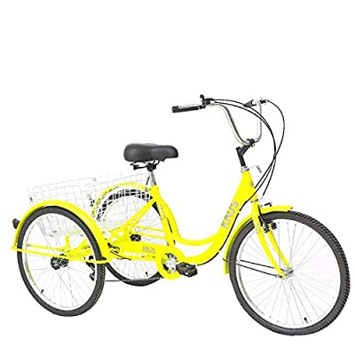 24 Inch Adult Trikes 7 Speed-Yellow