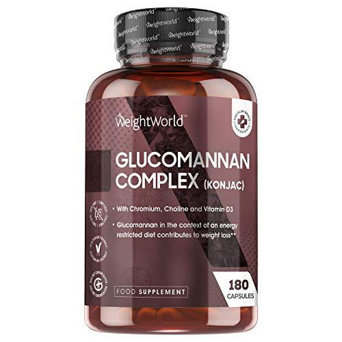 Glucomannane Konjac - 180 Gélules 3000mg Hautement Dosé 100% Naturel WeightWorld - Complexe Konjac 95% de Fibre, Chrome, Choline, Vitamine D - Pour Digestion, Keto, Végétarien