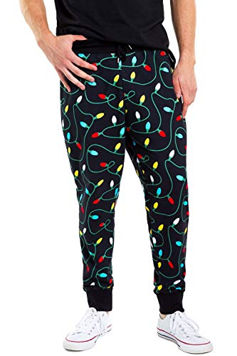 Tipsy Elves Men's String of Lights Joggers - Funny Comfy Sweat Pants for Guys: M
