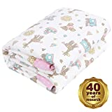 Designthology 100% Cotton Toddler Quilt, Lightweight & Hypoallergenic Cool Baby Blanket - Soft Crib Comforter for All Seasons, Decoration Gift for Girls - Pink Bear & Giraffe (47'x39')