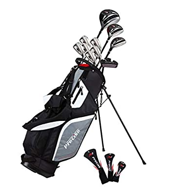 Top Line Men's Right Handed M5 Golf Club Set , Set Includes Driver, Wood, Hybrid, 5, 6, 7, 8, 9, PW Stainless Steel Irons with True Temper Steel Shaft, Putter, Deluxe Stand Bag & 3 Headcovers