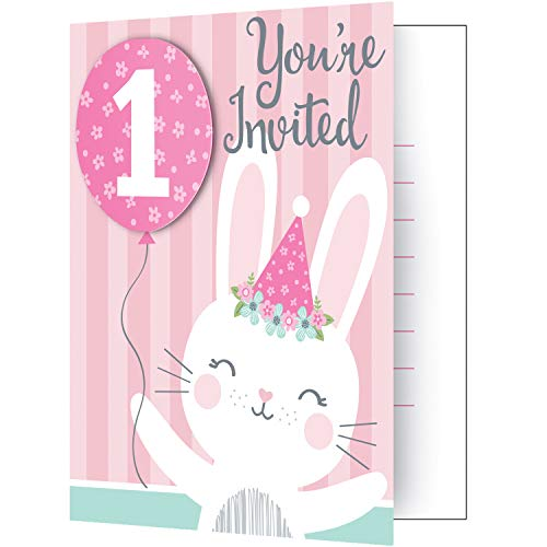 Creative Converting Party Supplies, Bunny Party 1St Birthday Invitations, Invites, Multicolor, 0.04X4X5in, 8Ct