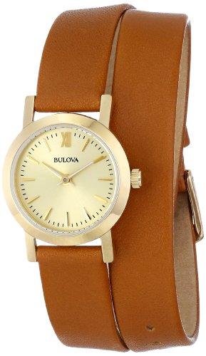 Bulova 97L135 Women's Dress Gold Dial Gold Steel Brown Leather Strap Watch