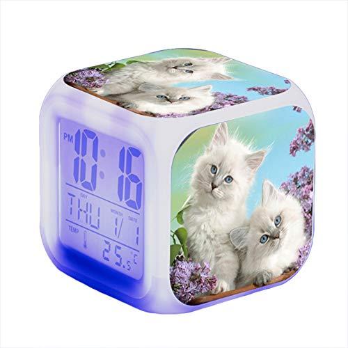 Wecker Katze Jungen und Mädchen LED beleuchteter Wecker Nachtlicht Wecker mit Anzeige Zeit Datum Temperatur,8X8X8cm (M)