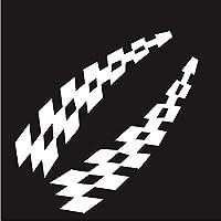 UYEDSR 車のステッカー カーレースステッカー車両カーデカールチェック柄ホイールフラグ安全ビニールステッカーアクセサリー装飾-Silver_2pc s