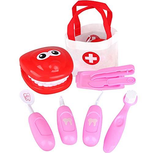 GoodFaith Juego de juguetes de modelo dental, dentista para nios, juego de rol, dentista, comprobacin de simulacin, juguetes mdicos, juguete educativo, color rosa