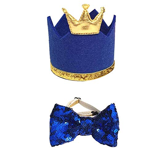 NA 1 Set Pet Hat Bow Tie Set Pet Crown Hat Blingbling Bow tie Collar Pet Birthday Party Supplies Cosplay Accessory Puppy Birthday Gift for Small Medium Dogs Cats Kitten(Blue)
