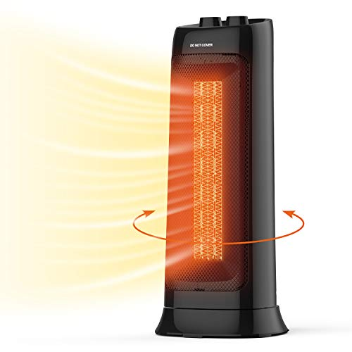 CHLANT Space Heater, 1500W Fast Heating PTC Tower Heater, Tip-over & Overheat Protection Electric Heater, Oscillating Portable Heater with 2 Heat Settings & Natural Wind for Office, Home, Indoor Use