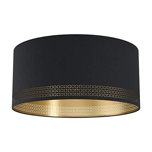 EGLO Deckenlampe Esteperra, 1 flammige Deckenleuchte Vintage, Retro, Wohnzimmerlampe aus Stahl und Textil in Schwarz, Gold, Küchenlampe, Flurlampe Decke mit E27 Fassung