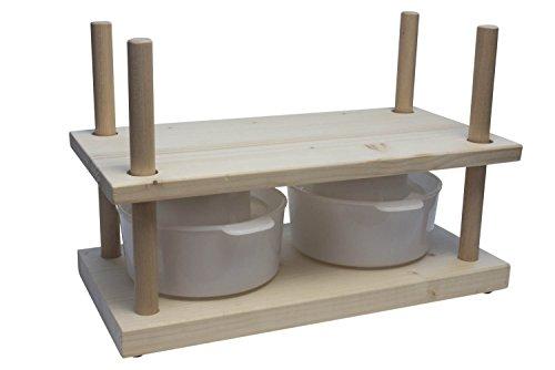 WoodBi 'Formaggio Stampa di legno Portia | Stampa Universale per Formaggio Formaggio per | Originale, Legno, Käsepresse und 2 Käseformen 150mm