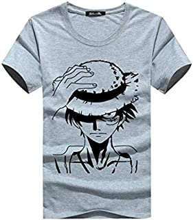 Men Casual Fashion T-shirt One Piece Monkey D Luffy Printed Round neck Cotton T shirt Short Sleeve Tops Grey color zy