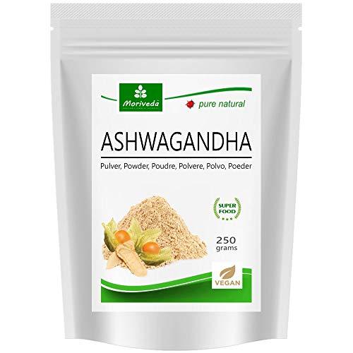 MoriVeda® Proszek Ashwagandha 250 g I Śpienna dla równowagi, jakości życia i wewnętrznego spokoju I W naturalnej jakości Ayurveda z Indii i Afryki I wegański i bezglutenowy I 100% proszek korzeniowy