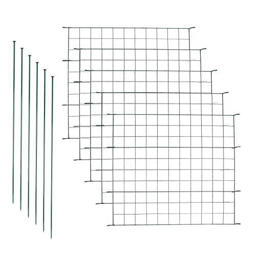 Henda Teichzaun Set mit 5 Zaunelementen und 6 Befestigungsstäben Steckzaun Zaunelementen Elemente Gitterzaun Zaunmatten