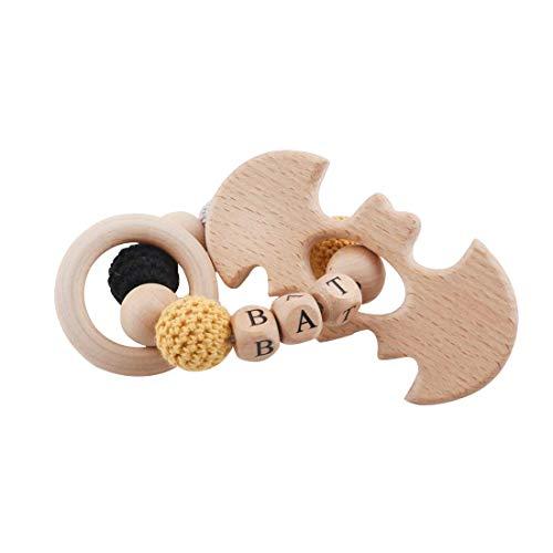 Mamimami Home Baby Holz Beißring Batman Superman Crochet Perlen DIY Armband Natürliche Kautabletten Organische Ringe Rassel Sinnes Baby Gym Spielzeug Charms Für Kinderkrankheiten